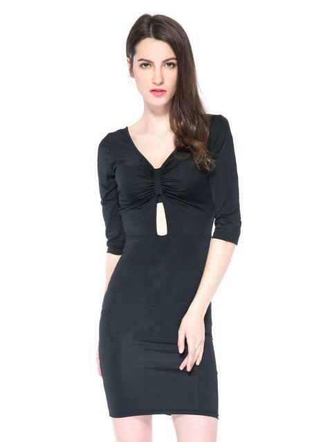 women's Black Plunging Neck 3/4 Sleeve Dress - BLACK 2XL Mobile