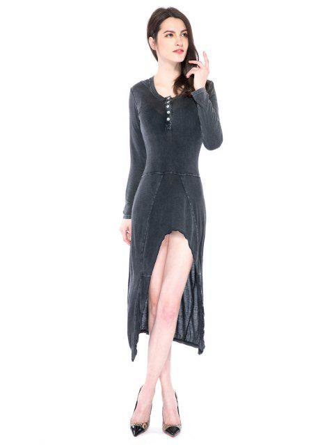 ladies Solid Color High-low Hem Dress - DEEP GRAY 2XL Mobile