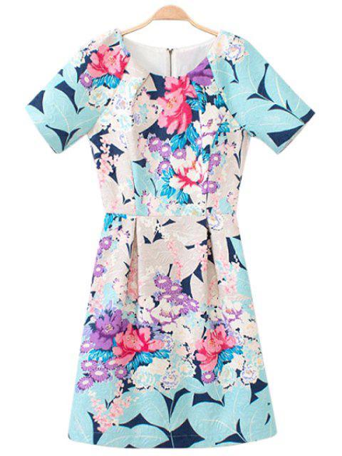fashion Short Sleeve Floral Print Dress - COLORMIX M Mobile