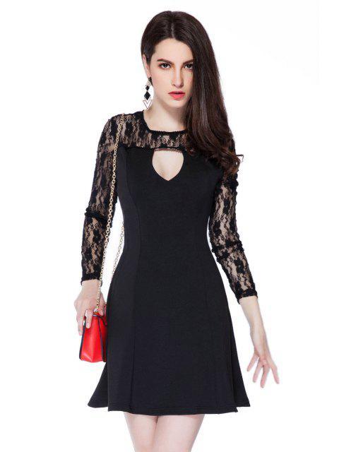 best Lace Splicing Black Hollow Dress - BLACK S Mobile