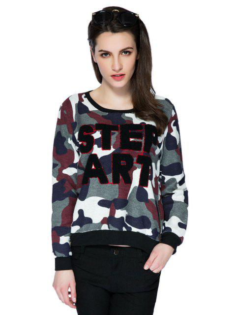 ladies Letter Camouflage Pattern Sweatshirt - COLORMIX S Mobile