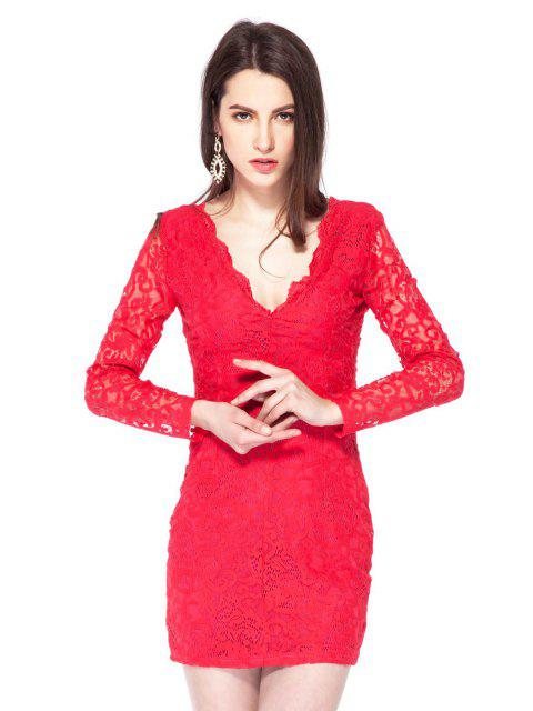 ladies Plunging Neck Lace Bodycon Dress - RED 2XL Mobile