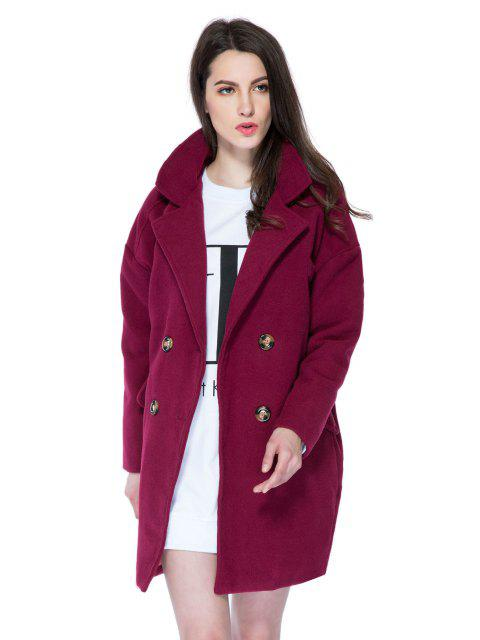 online Solid Color Lapel Loose-Fitting Coat - WINE RED M Mobile