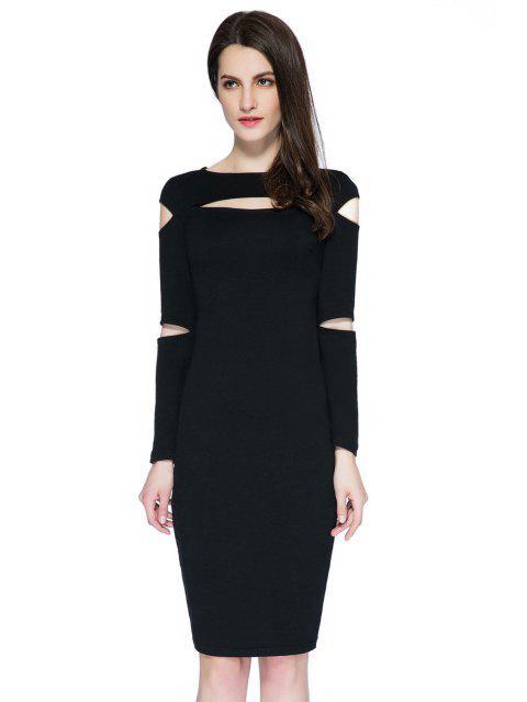 women Black Cut Out Long Sleeve Dress - BLACK L Mobile