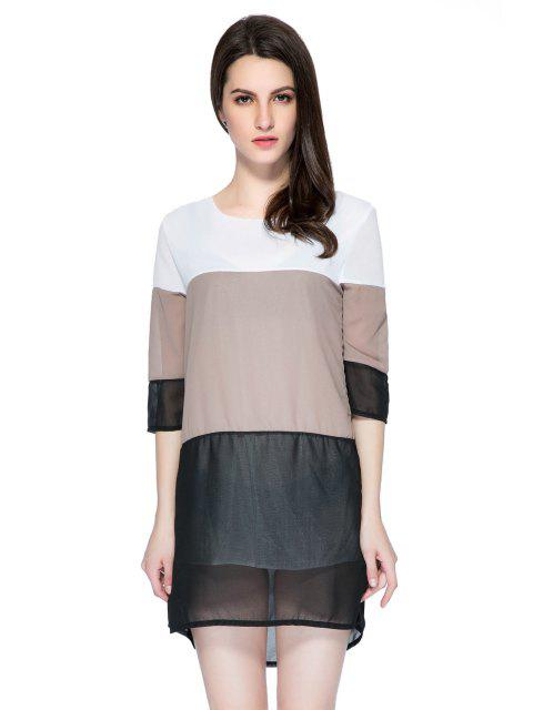 buy 3/4 Sleeve Color Block Skirt -   Mobile