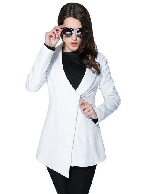 lady Solid Color Plunging Neck Zipper Coat - WHITE L Mobile