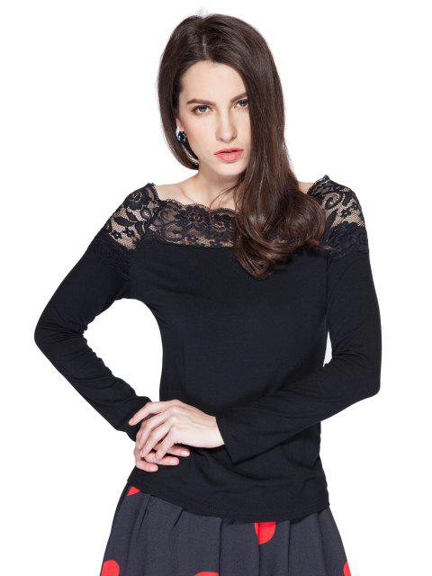 chic Long Sleeve Lace Splicing T-Shirt - BLACK S Mobile
