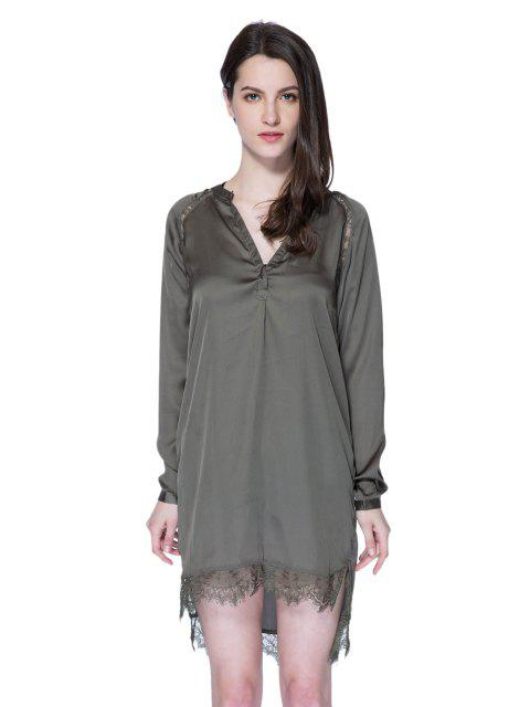 best Solid Color Lace Splicing Dress - ARMY GREEN S Mobile