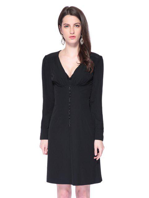 shop Black Plunging Neck Breasted Dress - BLACK S Mobile