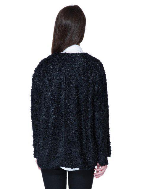 fancy Lamb Wool Solid Color Long Sleeve Coat - BLACK XL Mobile