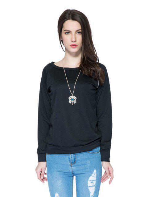 fashion Solid Color Long Sleeve Zipper Sweatshirt - BLACK M Mobile
