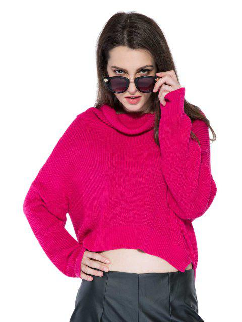 Solide Couleur Hem High-Low Pull - Rouge vineux  L Mobile
