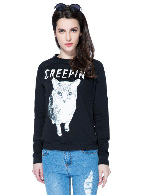 trendy Kitten and Letter Print Sweatshirt - BLACK XS Mobile