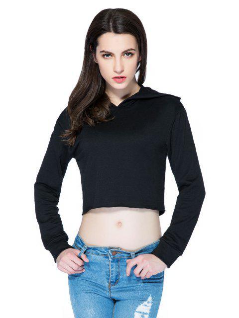 buy Hooded Solid Color Crop Top - BLACK S Mobile