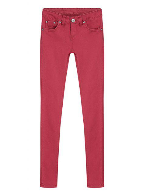 best Skinny Solid Color Low Waisted Pants - RED M Mobile