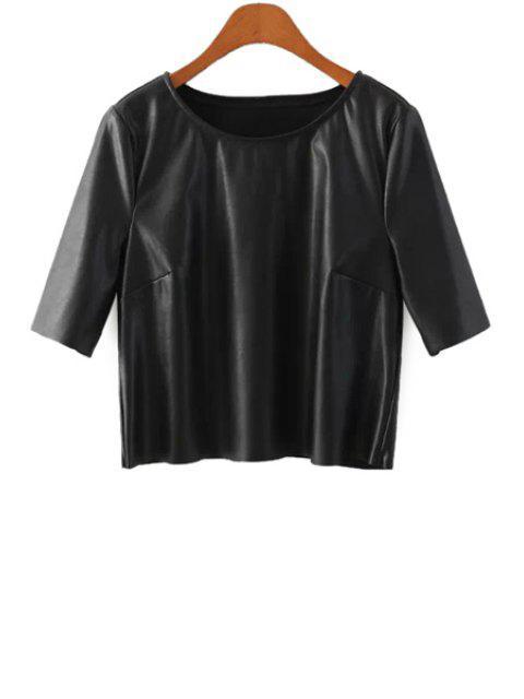 sale Half Sleeve Black PU Leather T-Shirt - BLACK S Mobile