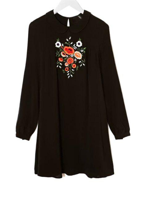 fancy Peter Pan Collar Floral Embroidery Dress - BLACK S Mobile