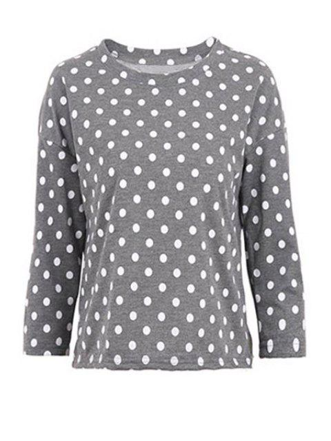 shops Polka Dot Long Sleeve T-Shirt - GRAY S Mobile
