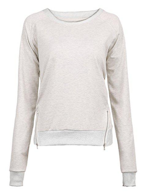fancy Gray Zipper Jewel Neck Sweatshirt - GRAY M Mobile