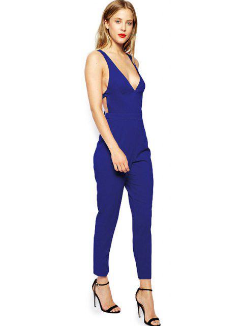 latest Plunging Neck Blue Backless Jumpsuit - BLUE L Mobile