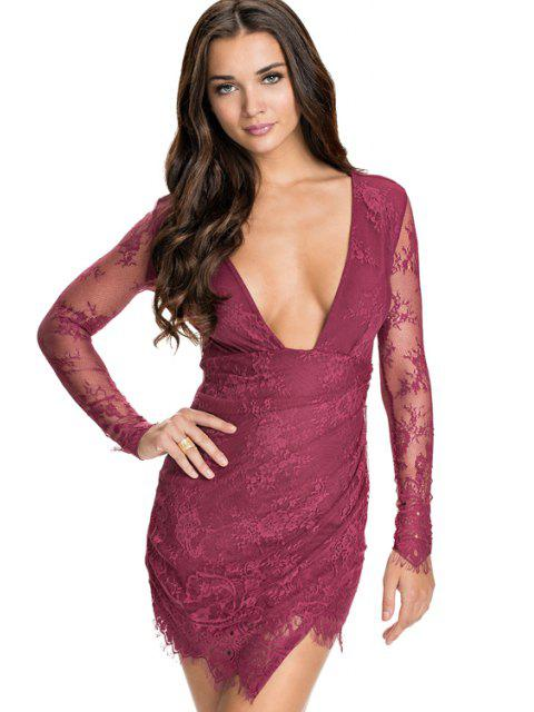 ladies Solid Color Plunging Neck Lace Dress -   Mobile