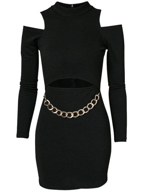 lady Black Off-The-Shoulder Chain Dress - BLACK M Mobile