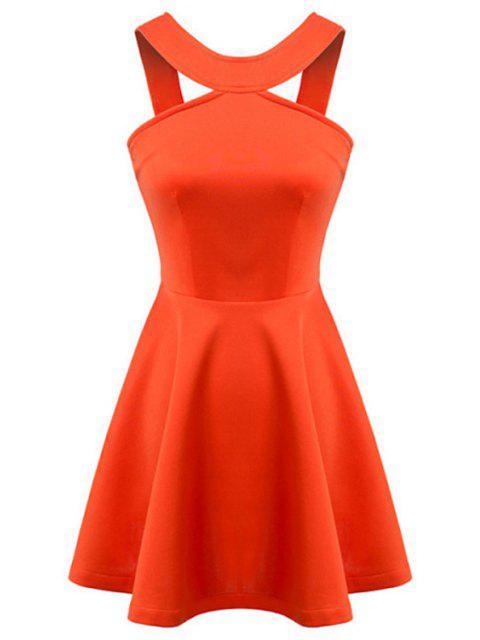 fancy Straps Solid Color A-Line Dress - ORANGE M Mobile