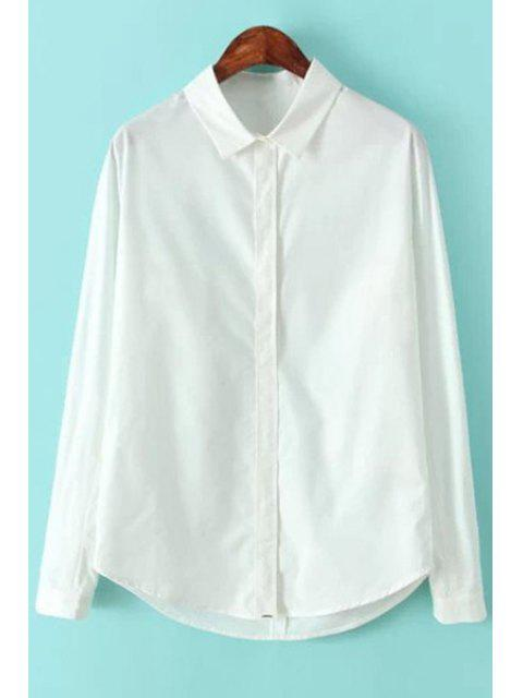 affordable Long Sleeves White Shirt - WHITE L Mobile