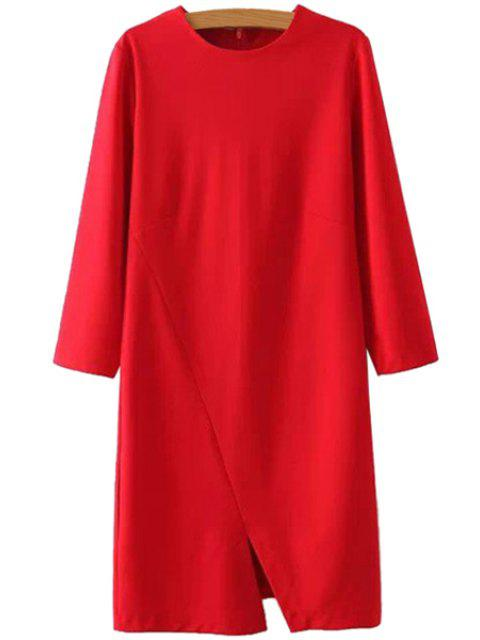outfits Nine-Minute Sleeve Solid Color Dress - RED L Mobile