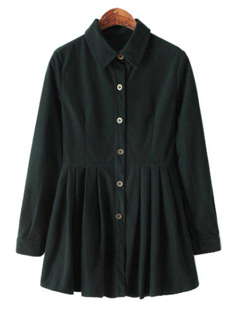 shop Long Sleeve Solid Color Corduroy Dress - BLACKISH GREEN M Mobile