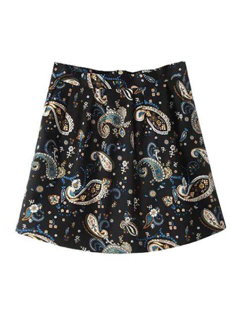 women's Full Floral A-Line Skirt - BLACK S Mobile