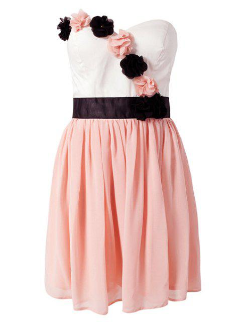sale Strapless Color Block Dress - PINK L Mobile