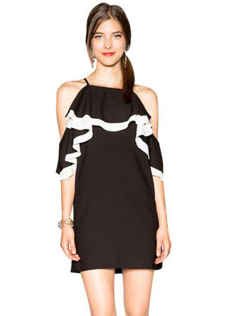 fashion Off-The-Shoulder Ruffles Dress - BLACK S Mobile