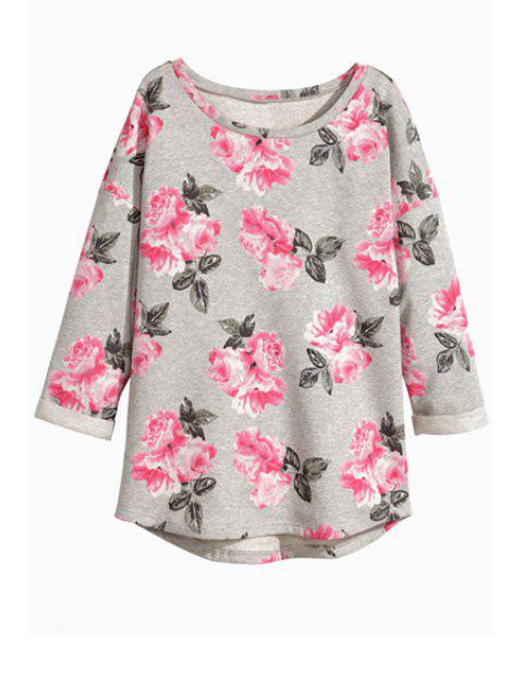 affordable Floral Nine-Minute Sleeve T-Shirt - GRAY S Mobile