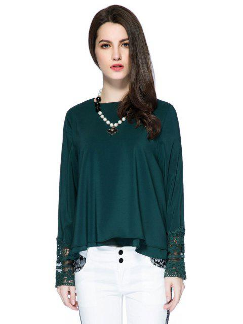 Lace Splicing Solid Color Bluse - Grün S Mobile