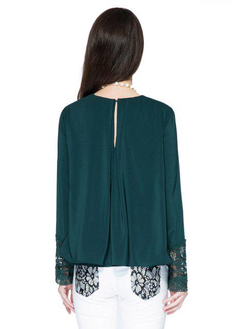 online Double Layered Lace Panel Blouse - GREEN S Mobile