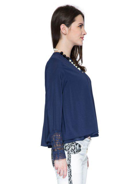 outfits Double Layered Lace Panel Blouse - PURPLISH BLUE S Mobile