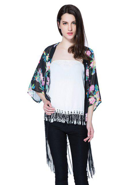 latest Floral Print 3/4 Sleeve Fringe Blouse - BLACK L Mobile