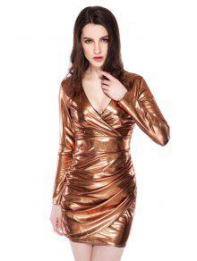Buy Golden Pleated Plunging Neck Dress - GOLDEN L