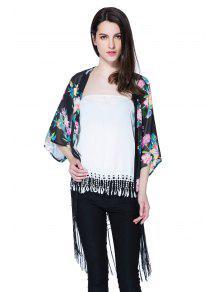 Floral Print 3/4 Sleeve Fringe Blouse - Black L