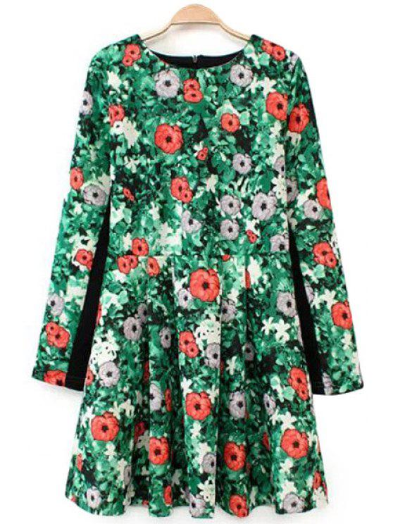 chic Floral Print Jewel Neck Dress - GREEN S