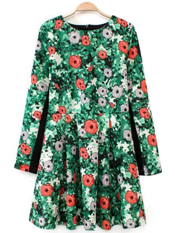 chic Floral Print Jewel Neck Dress - GREEN S