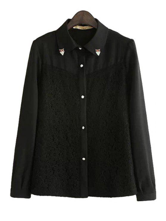 fashion Lace Splicing Rhinestone Shirt - BLACK S