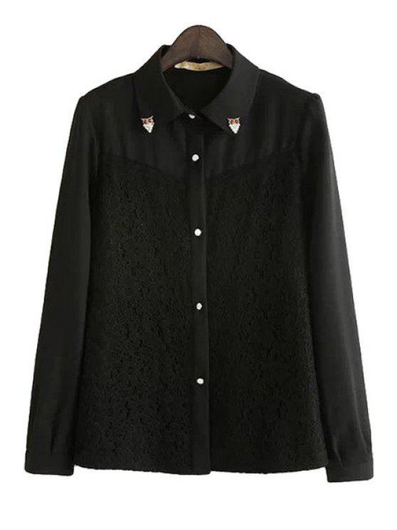 fashion Lace Splicing Rhinestone Shirt - BLACK S