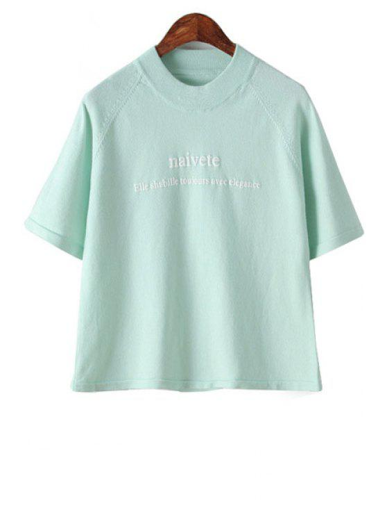 trendy Letter Pattern Short Sleeve Knitwear - PEA GREEN ONE SIZE(FIT SIZE XS TO M)