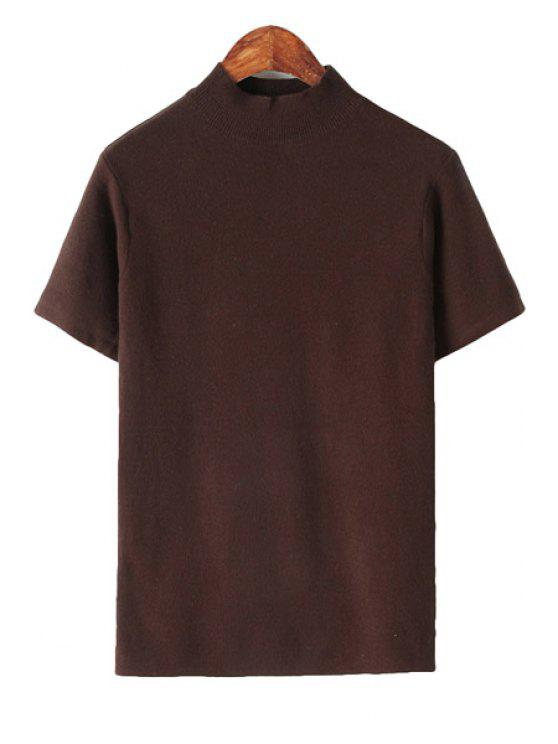 hot Solid Color Short Sleeve Knitwear - COFFEE ONE SIZE(FIT SIZE XS TO M)