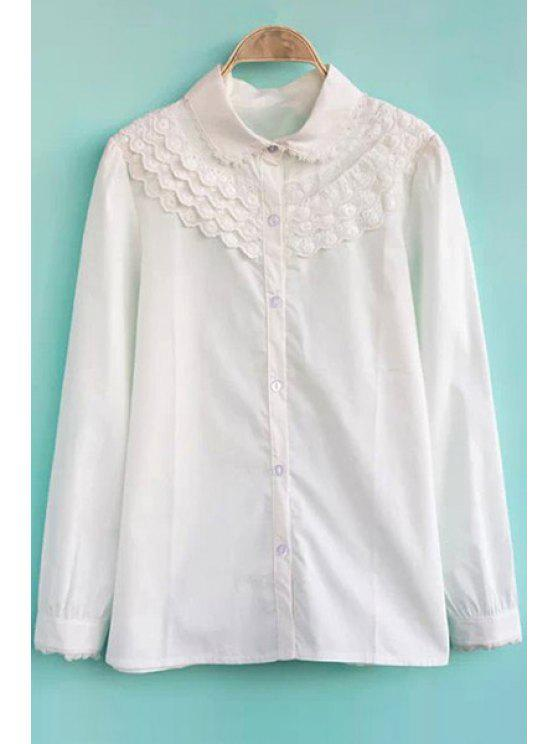 buy Lacework Splicing Long Sleeve Shirt - WHITE S