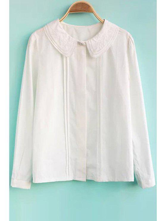 women's White Peter Pan Collar Shirt - WHITE S