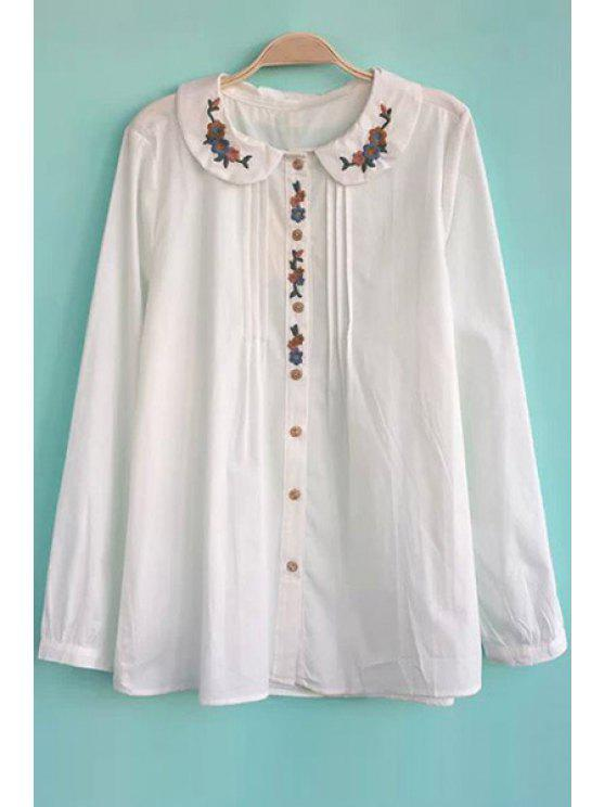 shops Floral Embroidery Peter Pan Collar Shirt - WHITE S