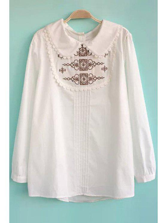 fashion Retro Embroidery Peter Pan Collar Blouse - WHITE S